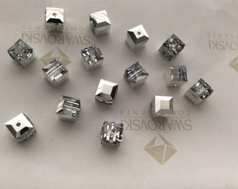 12 pieces Vintage Swarovski #5601 6mm Crystal CAL Comet Argent Light Square Cube Faceted Beads
