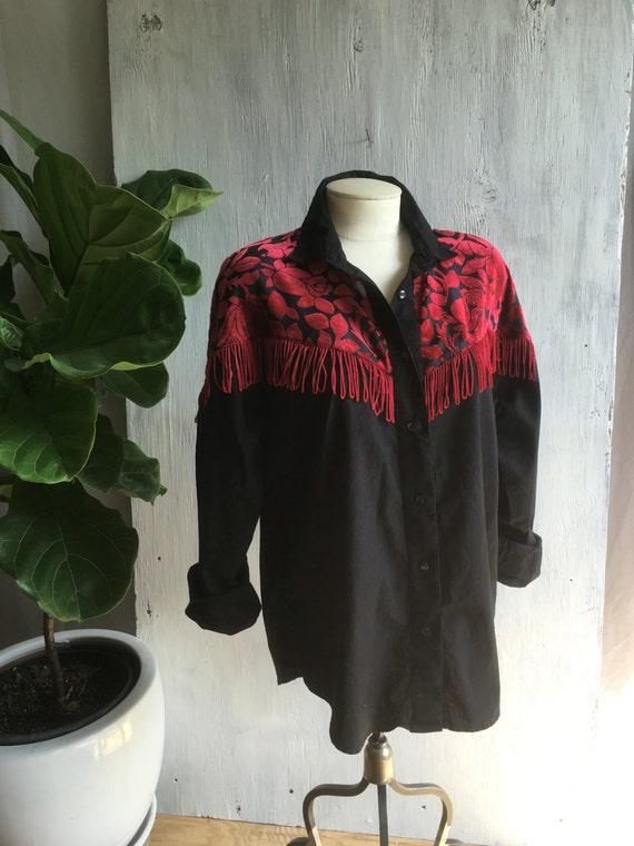 Velvet fringe button down fringe shirt velvet shirt for Red velvet button up shirt