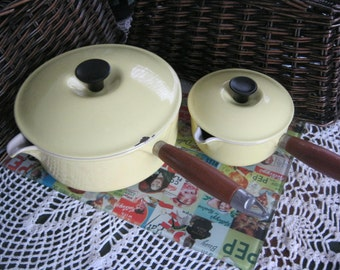 Le Creuset Sauce Pans Yellow Medium and Small # 22  # 14