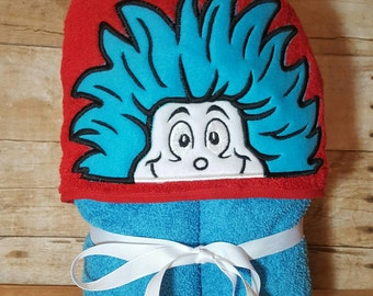 The Cat in the Hat Thing  One and Thing Two Hooded Towel with FREE Embroidered Name