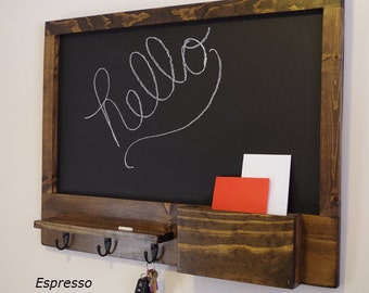 Chalkboard - Mail Organizer - Mail & Letter Holder - 3 Key and Hat Hooks - Large Chalkboard - Phone