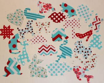 20 Iron On Appliques Girl Baby Shower, Red and Turquoise Baby Shower, Onesie Station, Iron on Girls, Baby Onesie Appliques