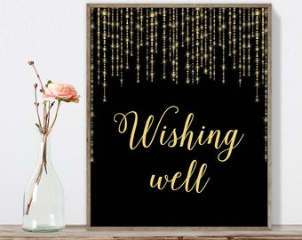 Wishing Well Sign DIY / Elegant Gold Wedding Sign / Great Gatsby, Bokeh String Light / Black and Gold Calligraphy ▷ Instant Download JPEG