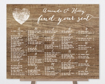 Rustic Alphabetical Seating Chart Sign / Rustic Wood Sign, White Calligraphy / Custom Seating Sign ▷ Printable File {or} Printed & Shipped