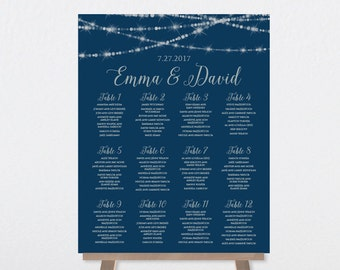 Vertical Seating Chart / Great Gatsby Festive Bokeh String Light Sparkle / Navy and Silver ▷ Printable File {or} Printed & Shipped