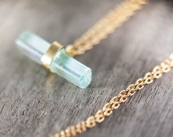 Aquamarine raw necklace
