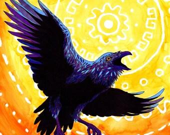 """Art Print - Tribal Raven / Crow artwork Watercolor 8x8"""""""