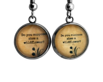 """Alice in Wonderland """"Do you suppose she's a wildflower?"""" Earrings"""