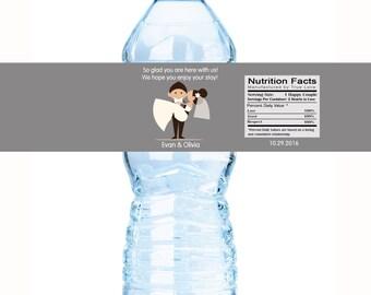 50 Wedding Water Bottle Labels - Groom Carrying Bride Newlywed - Wedding Decor - Custom Labels - Water Bottle Wraps - Bottle Stickers