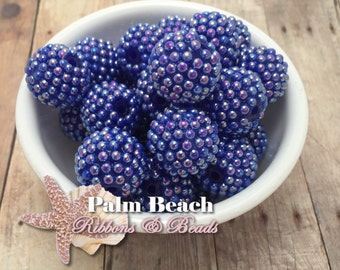 Ten (10) pcs Chunky 20mm Bubblegum Acrylic AB Indigo Blue Bumpy Raspberry Berry Pearls Beads -10pcs