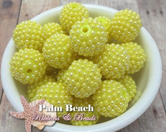 Ten (10) pcs Chunky 20mm Bubblegum Acrylic AB Yellow Bumpy Raspberry Berry Pearls Beads -10pcs