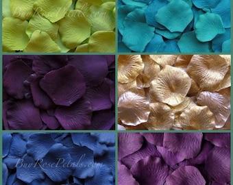 Peacock Blend Rose Petals - Silk Rose Petals Peacock Theme Wedding