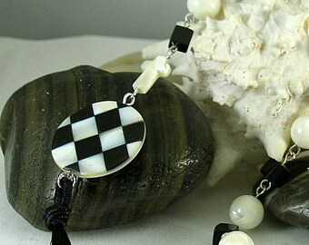 SCA Checky - Black & White MOP Onyx Rosary #2 - Chaplet - Paternoster
