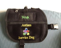 Service Dog Vest, pocket, handle, Embroidered Pockets close with velcro,  cardholder clip on, Custom Embroidery offered