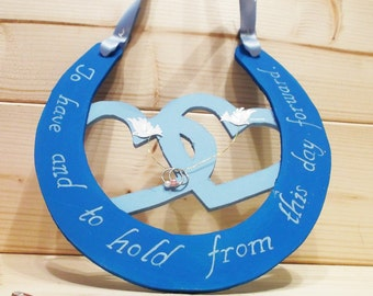 Blue horseshoe | wedding gift | bridal favour | gift for couple | good luck | traditional | wooden | handmade | keepsake.
