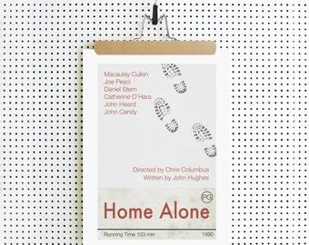 HOME ALONE Inspired Film Movie Poster Print, Art Print - Macaulay Culkin - Minimalist, Indie, Vintage Style, Retro Home