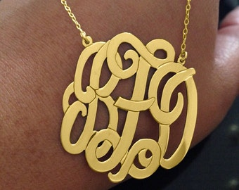 "2.5"" Gold Plated  Sterling  Silver Monogram Necklace 2.5 Inch Personalized Monogram 925 sterling silver"