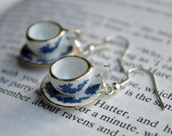 "Alice In Wonderland ""Curiouser and Curiouser"" Blue Floral Teacup Earrings"