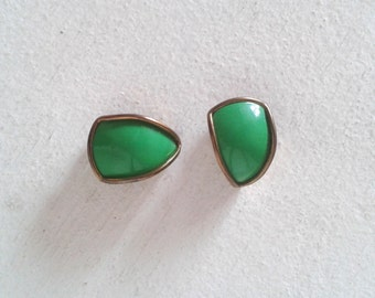 Golden and green clip earrings