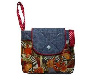 Handmade bag bags Organizer grey/red/orange / gold