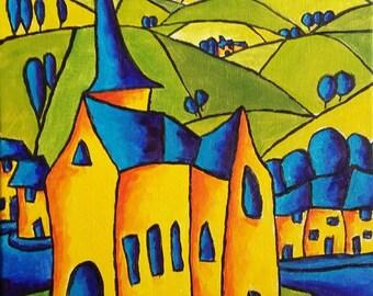 "Original Painting, Original Landscape Painting, Colorist Art, Original Oil Abstract Painting Canvas 12""x16"" Impressionist Art Expressionism"