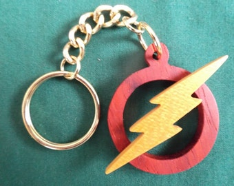 Flash Keychain, Handcrafted Wooden Gift for Him, Superhero Keychain, Exotic Wood, Geeky Keychain, Comic Book Gift