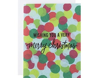 "Letterpress Christmas Card, ""Wishing You a Very Merry Christmas"", Holiday, Hand Lettering, Modern, Greeting Card"