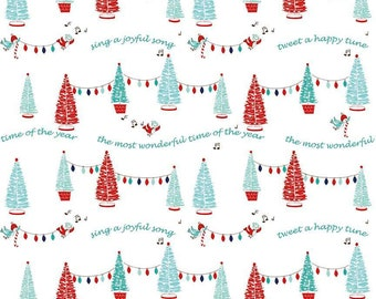 Pixie Noel by Riley Blake - Trees White - Cotton Woven Fabric