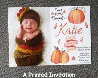 Boy Fall Birthday Invitation, Girl Fall Birthday Invitation, Rustic 1st Birthday, Rustic 1st Birthday Invitation, Pumpkin Photo Invitation