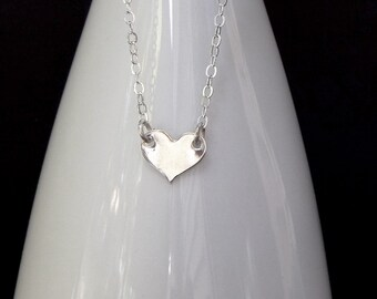 Silver Heart Necklace Tiny Heart Pendant, Simple Heart Charm, Minimal Silver Jewelry Gift for Women, by IContrived