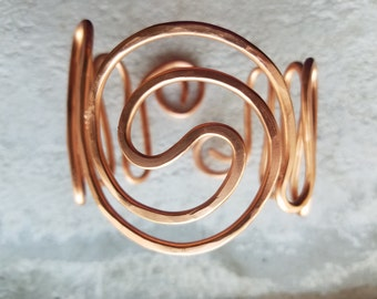 Atlantic Wave Hammered Copper Bracelet ~ Adjustable