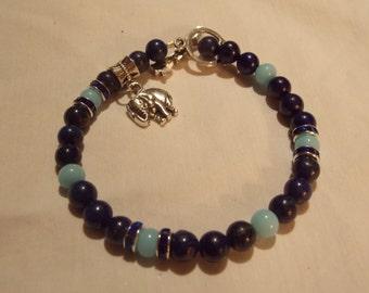 Beaded bracelet,hand made Lapis