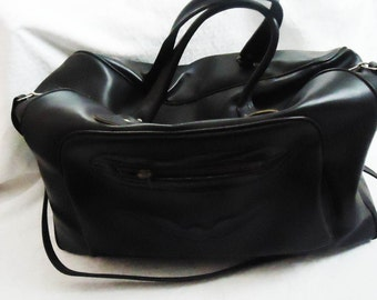 Vintage Black Leather luggage Bag,Old Travel Bag,Big Leather Bag, Bag for Holidays, Retro Big Leather Bag, Perfect Gift, Unique Leather Bag