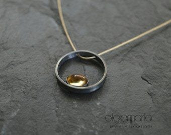 Circle Jewelry Citrine Pendant November Birthstone Bijoux Silver Necklace Contemporary Jewelry Minimal Necklace Women Gift Made in Greece