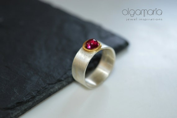 Ruby Ring Sterling Silver July Birthstone Gold plated Statement Jewelry Minimal Contemporary Jewelry Gift for Her Greek Designer