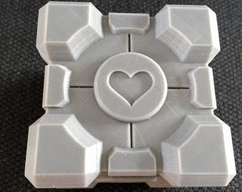 Portal Inspired Companion Cube, Glados , Geekery, Video game 3D printed Pokemon hand finished