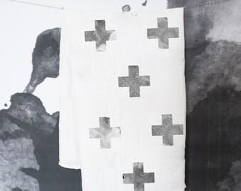 Swaddle Blanket - Swiss Cross Baby Swaddle Blanket - Cross Baby Blanket - Monochrome Baby Bedding - Bamboo Cotton Swaddle - Baby Swaddle