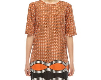 Easy Fit Shift dress - Orange water drop print