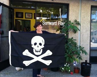 3' x 5' Applique' Jolly Roger Flag