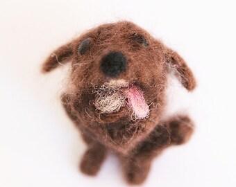Needle felted animal. Hungry dog ;)