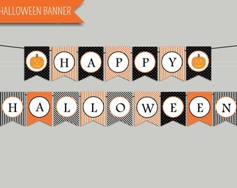 "Halloween Banner Printable Digital Download: ""HAPPY HALLOWEEN"" banner with stripes, pin dots, and pumpkins for halloween party supplies"