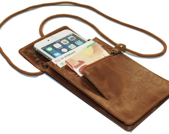 Pouch Phone, Travel Wallet for Phone iPhone 6 or Samsung Note 3. RFID Scam Protected Technology. Made of 100% Genuine Leather