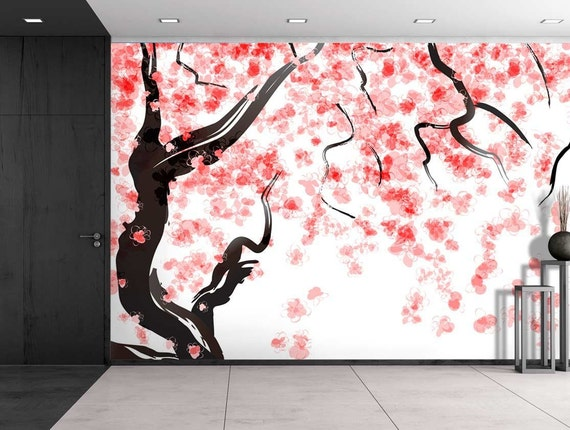 Japanese cherry tree blossom in watercolor painting style for Cherry blossom tree mural