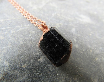 black tourmaline schorl crystal pendant of copper