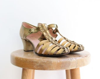 Vintage 1930's Gold Strap T Bar Shoes sling back dancing shoes art deco thirties 30's