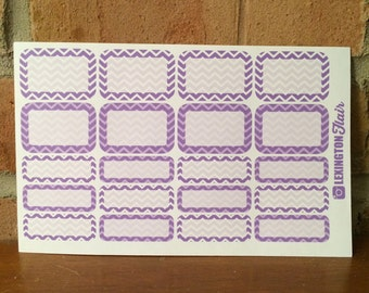 Purple Chevron Half and Quarter Boxes Stickers for use in your ECLP, Happy Planner or other Calendar or Planner