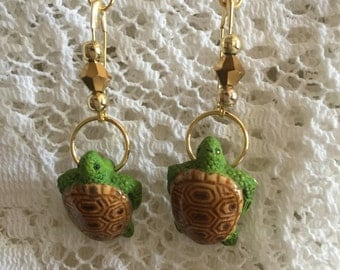 Green & Brown Turtle Earrings
