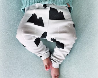 SALE Baby legging snow mountains triangle - organic cotton