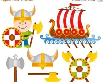 80% OFF Little Viking, Vector Illustration Set, Digital Illustration, Cartoon Character