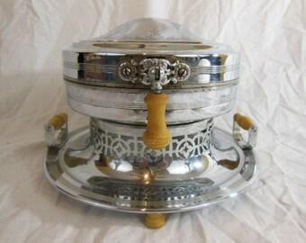 Vintage Landers Frary & Clark Universal Stainless Steel Waffle Maker W/ Engraved Top,  Bakelite Handles 1923
